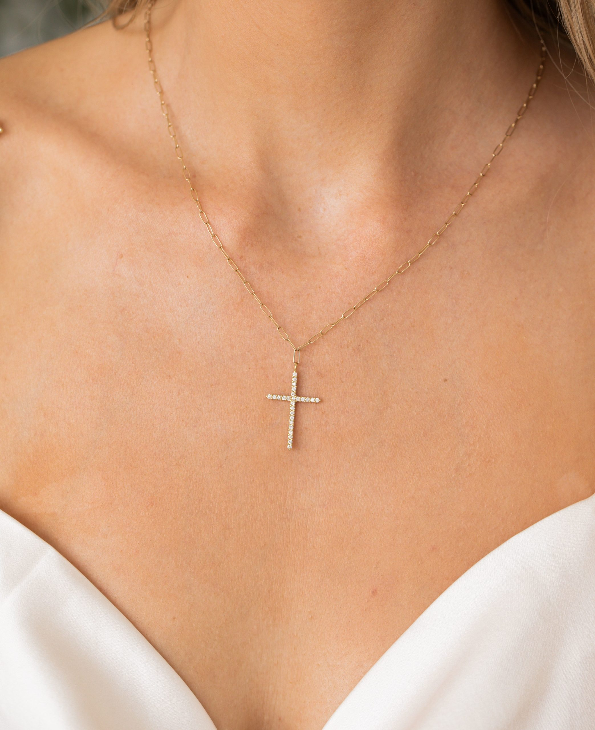 Link Chain Pave Cross Necklace