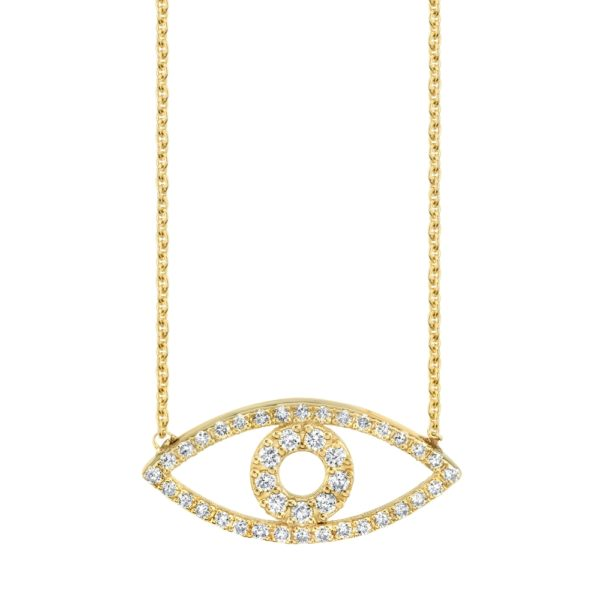 Diamond Evil Eye Necklace Outline