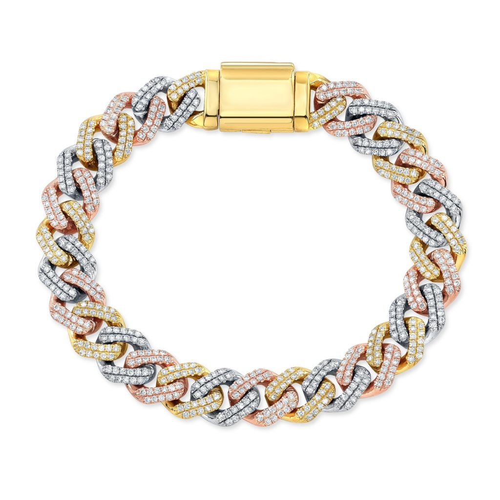 3 Tone Diamond Cuban Bracelet