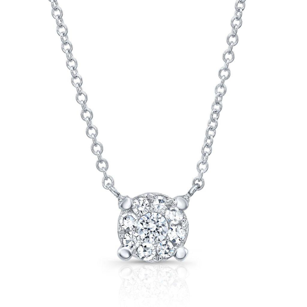 Round Cluster Diamond Necklace
