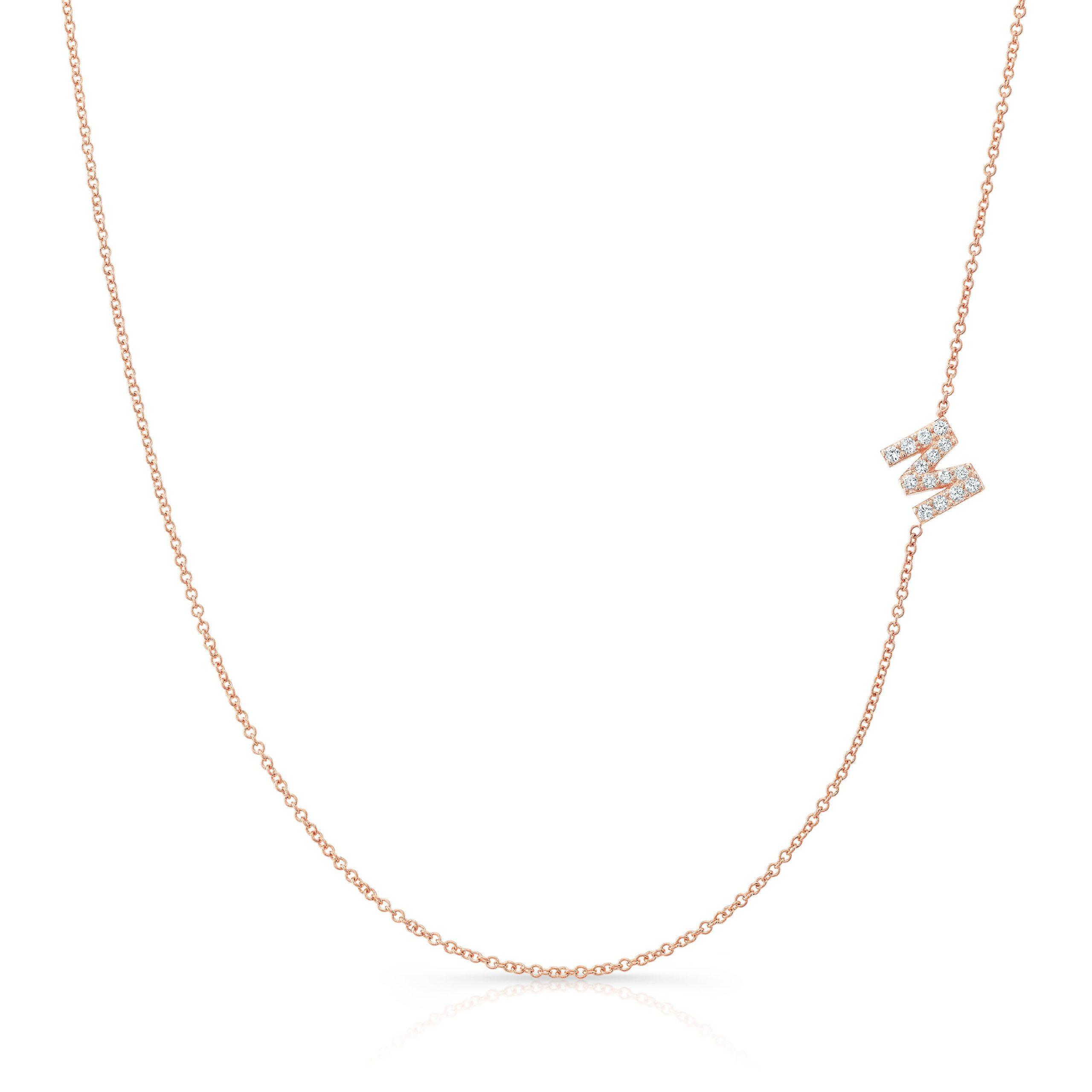 Side Set Diamond Initial Neckalce