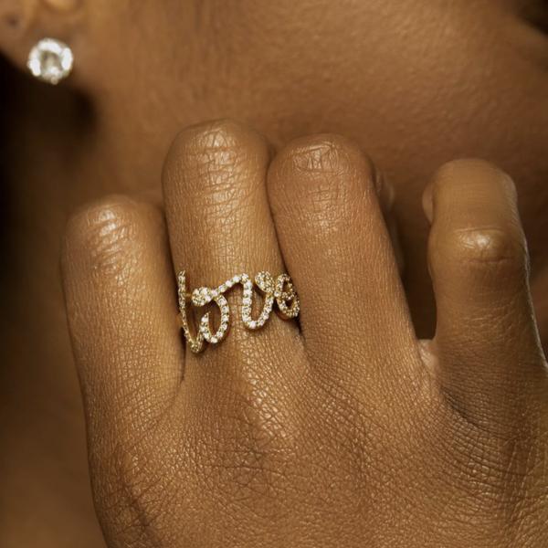 Cursive Diamond Love Ring