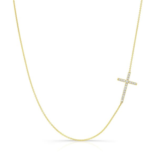 Side Set Cross Necklace