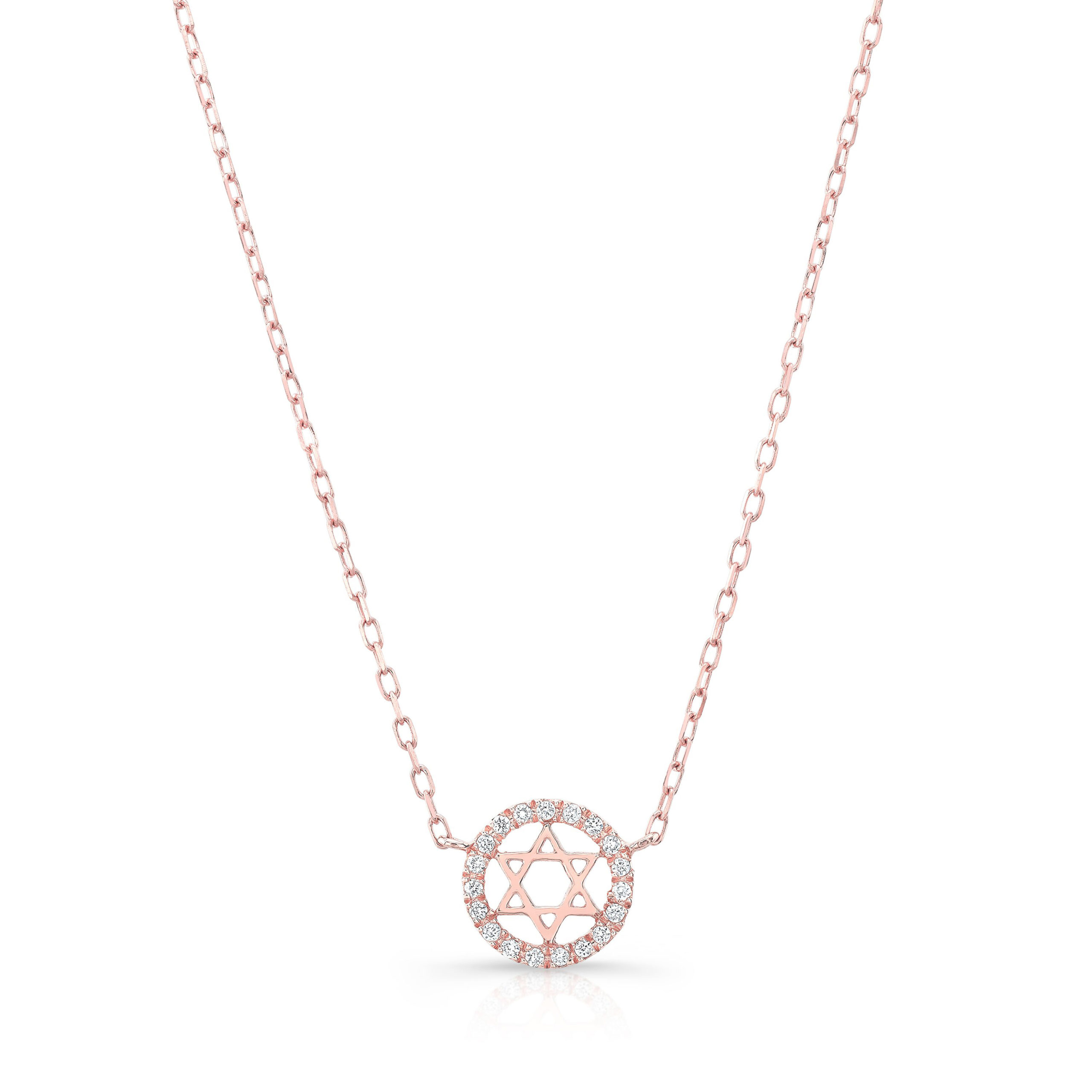 Star Of David Diamond Halo Necklace