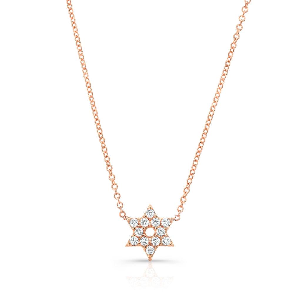 Star Of David Diamond Halo Necklace