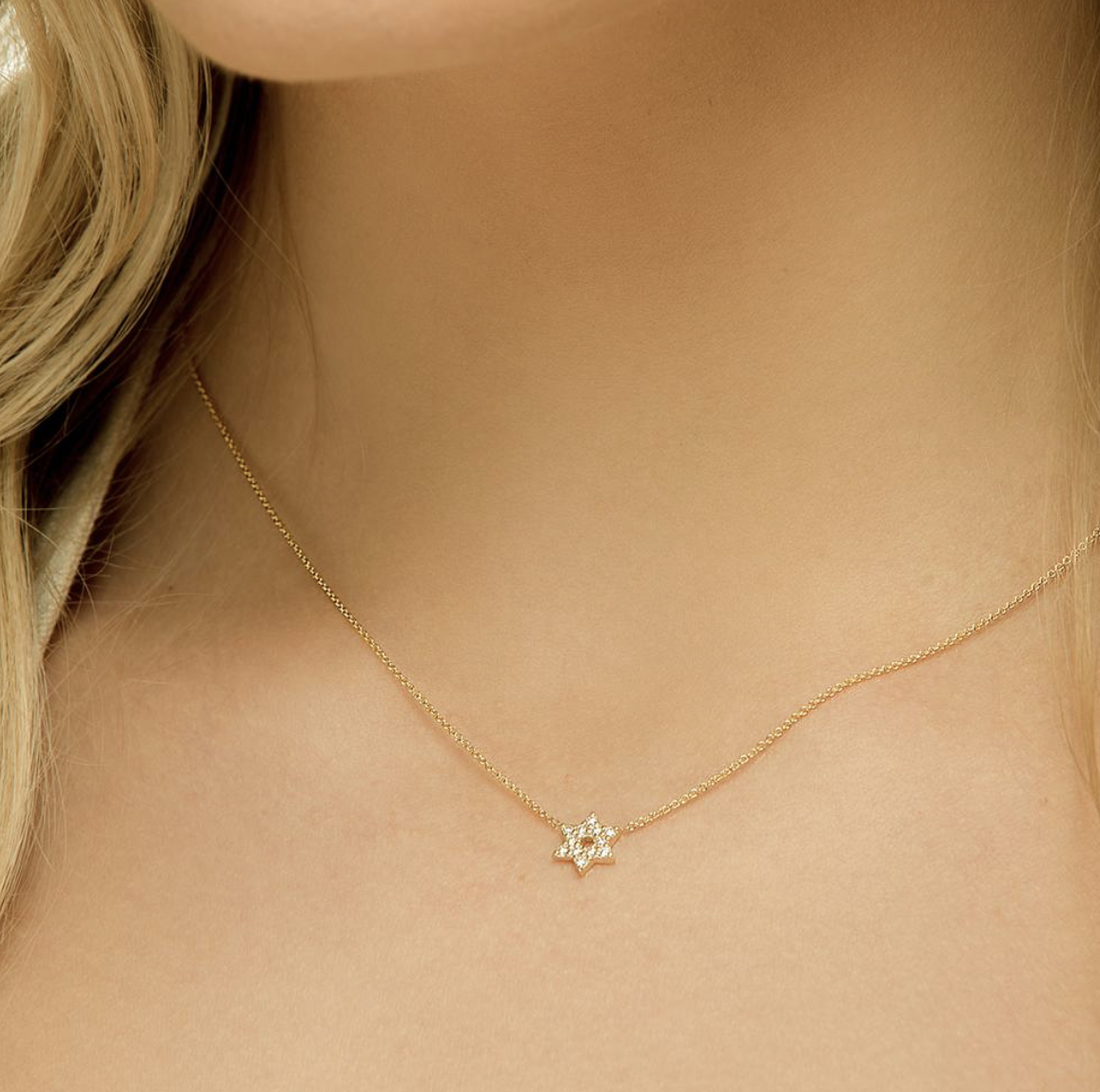 Star Of David Diamond Mini Necklace