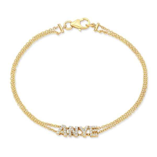 Double Chain Diamond Nameplate Bracelet