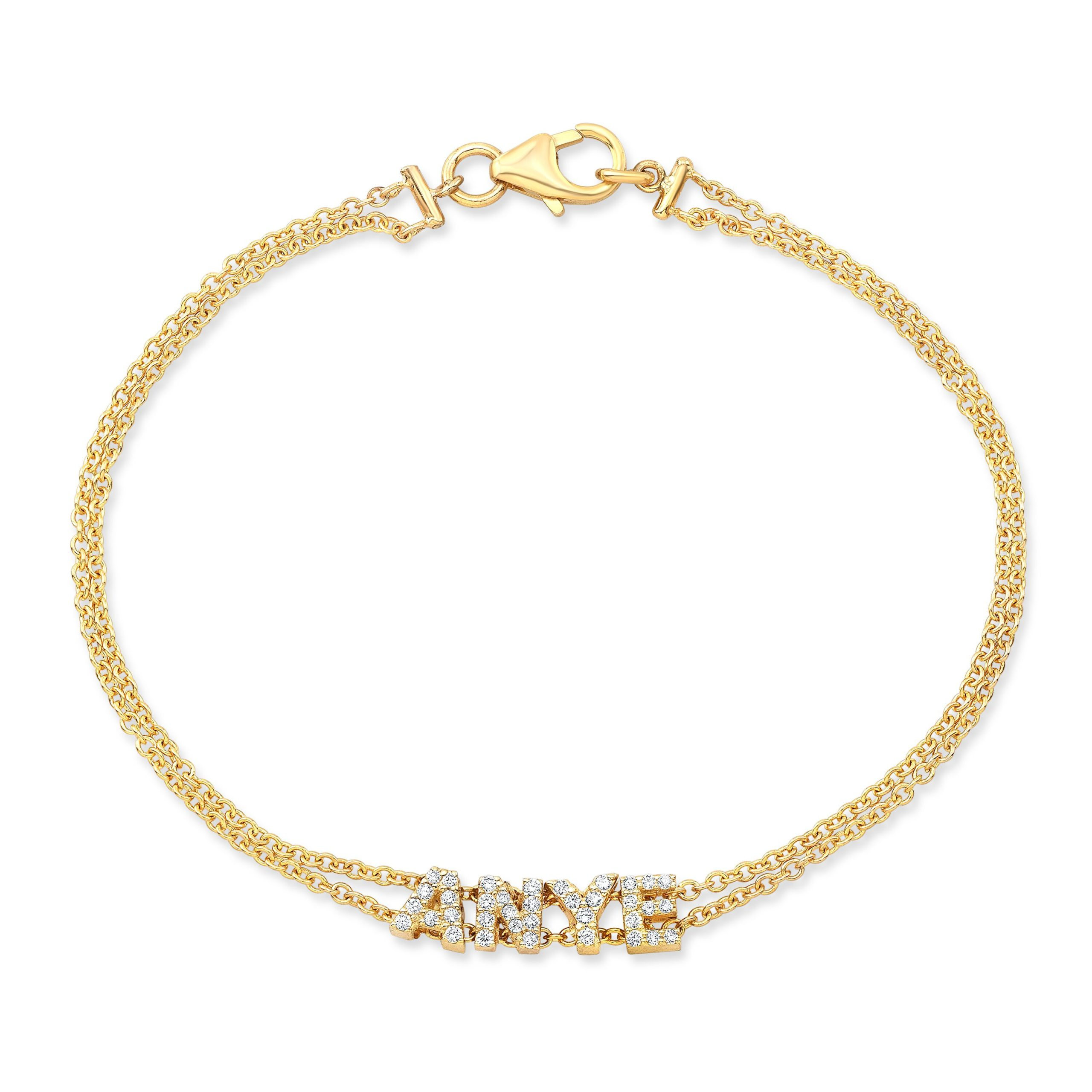 Double Chain Diamond Nameplate Bracelet
