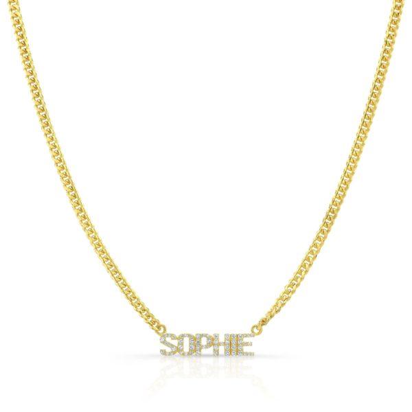 Diamond Nameplate Necklace