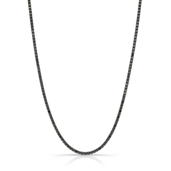 12.11ct. Black Diamond Tennis Necklace