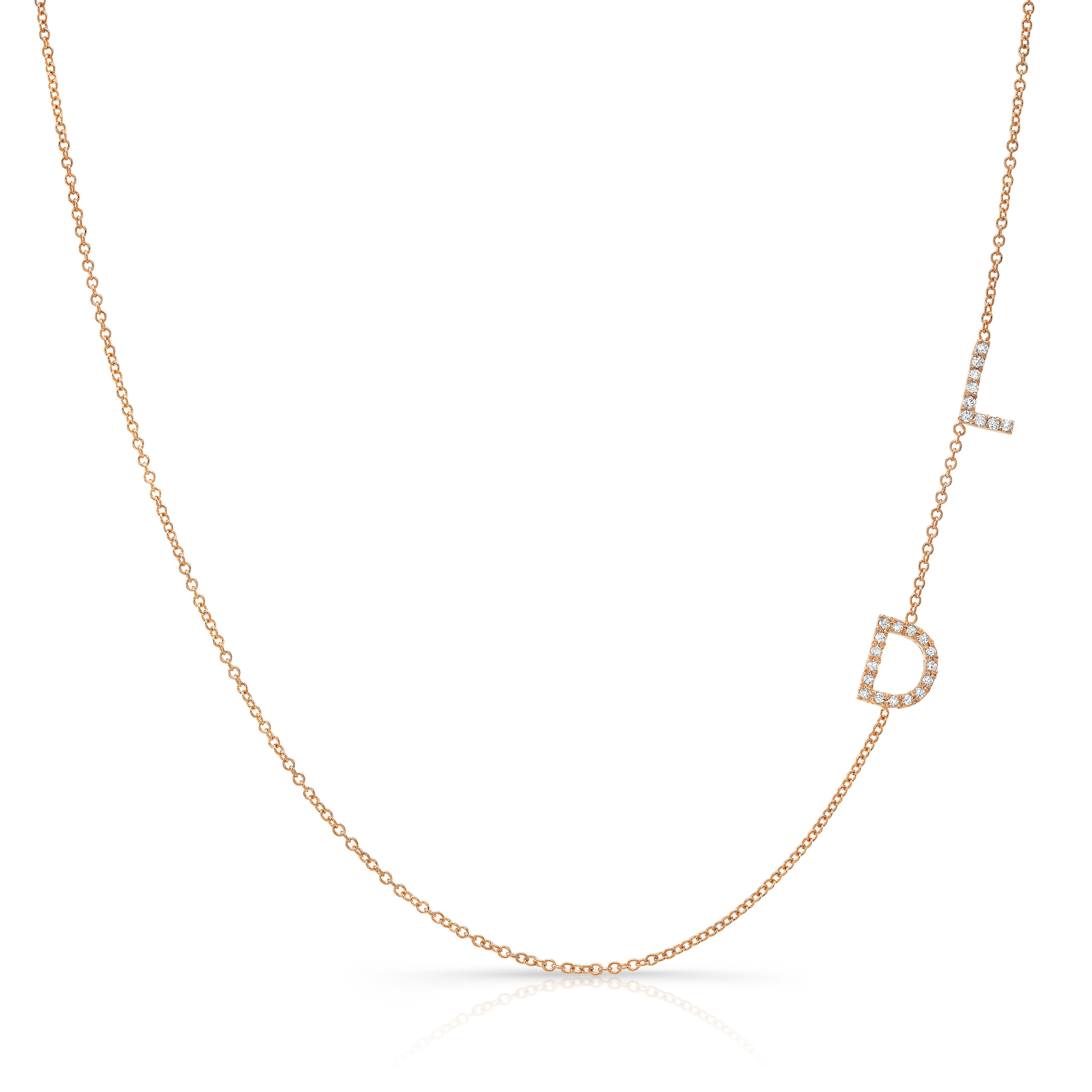 Side Set Diamond Initials Necklace