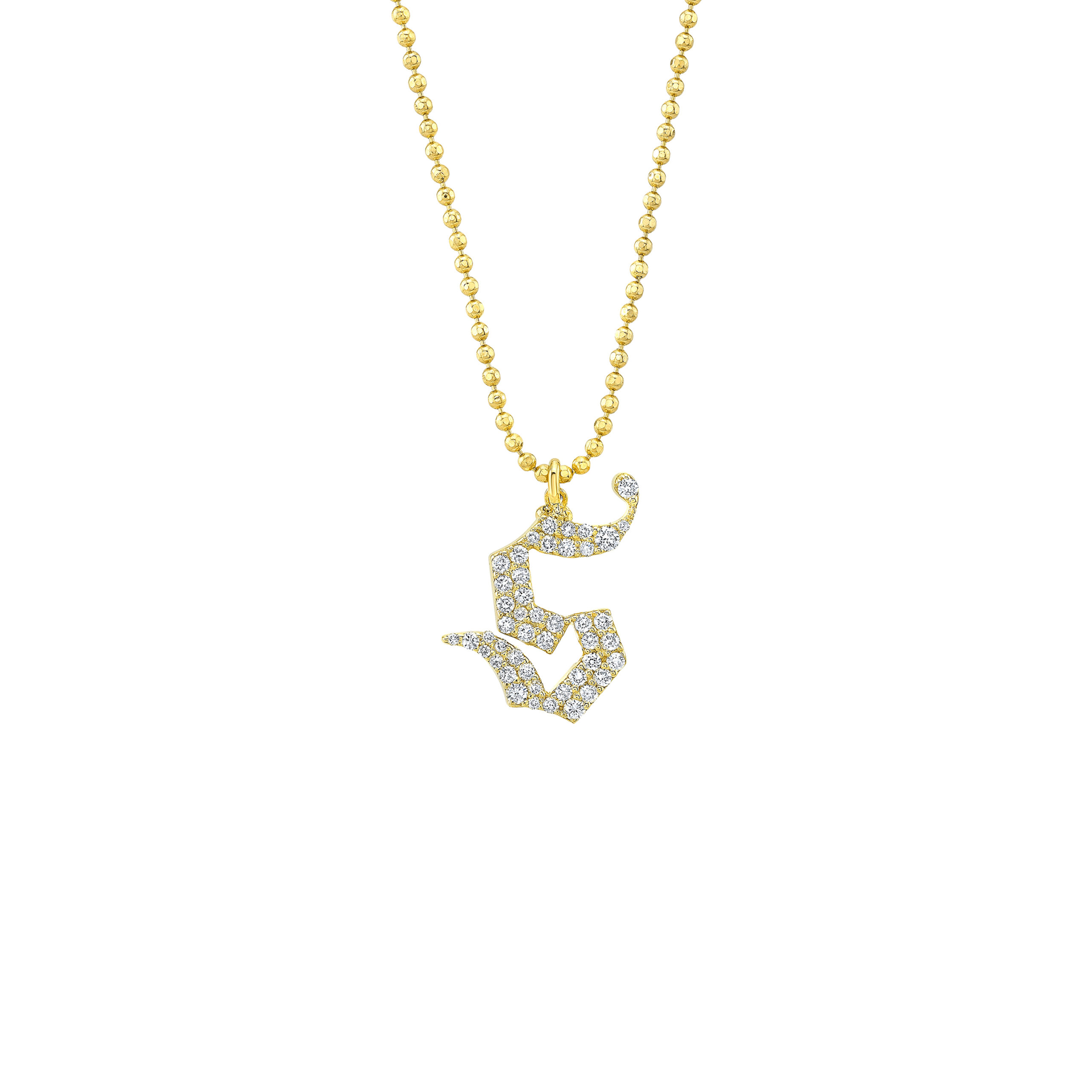 Gothic Pave Letter Necklace