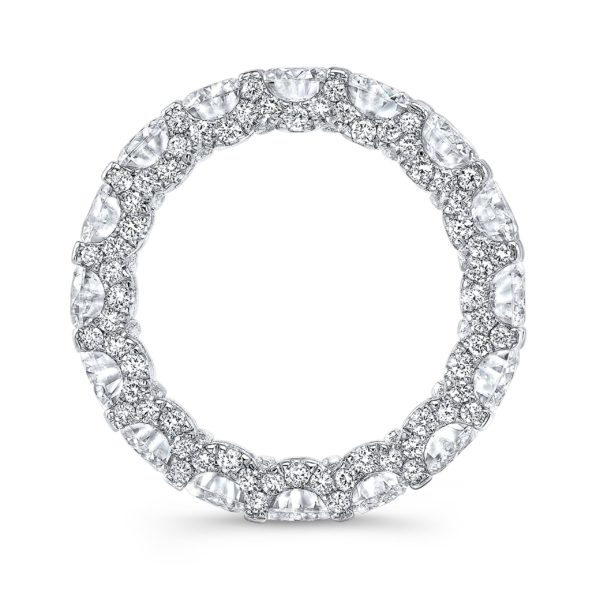 Round Moissanite & Diamonds Eternity Band