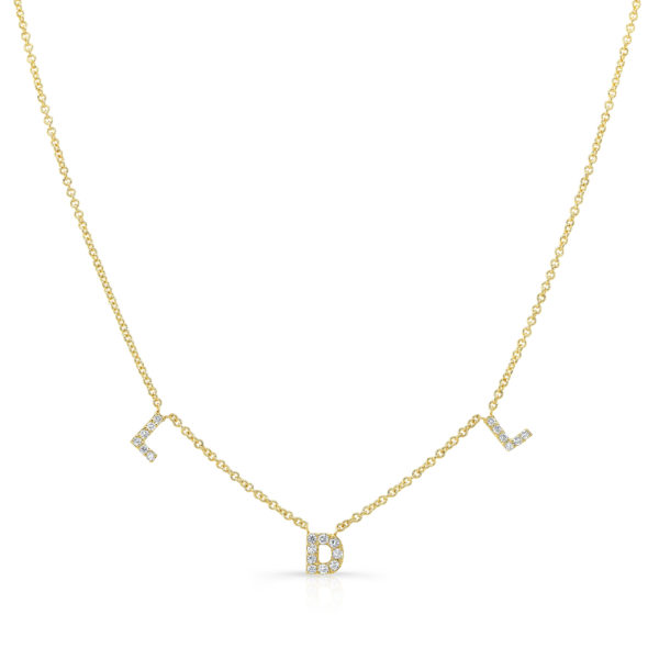 Mini Pave Initials Necklace