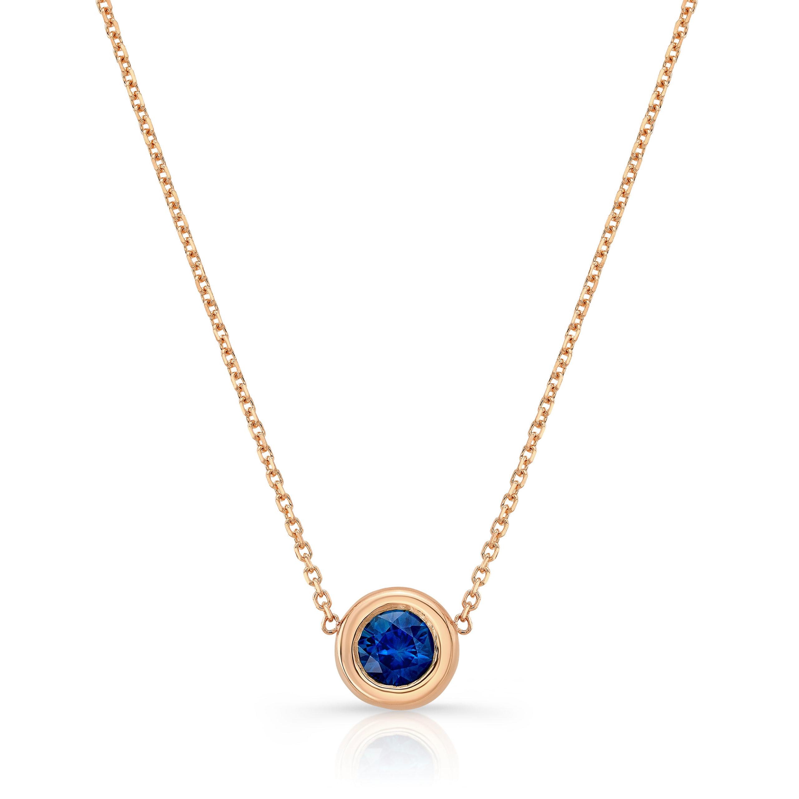 Blue Sapphire Bezel Necklace