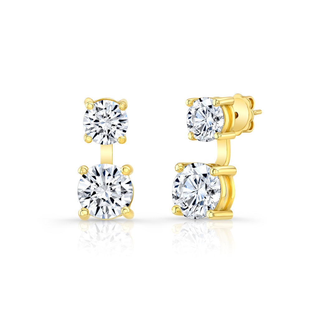 Double Moissanite Round Studs