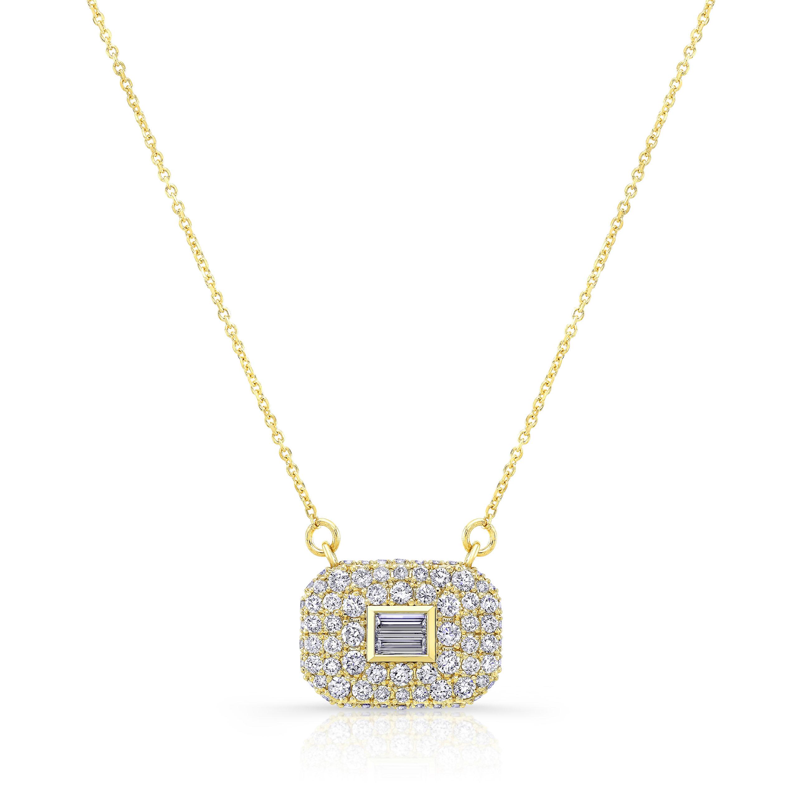 Pave Illusion Baguette Necklace