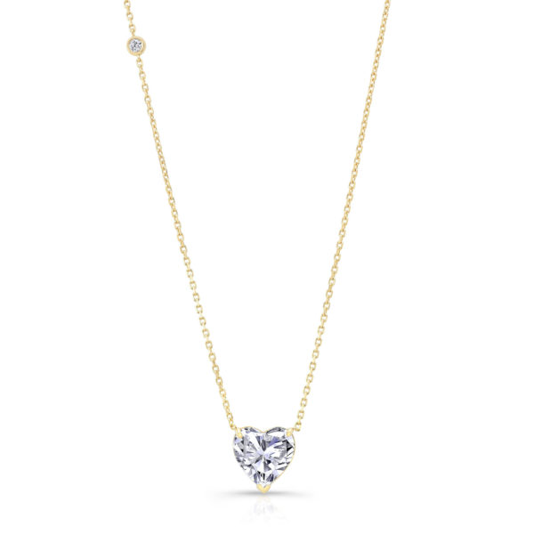 Solitaire Heart Necklace + Diamond Bezel