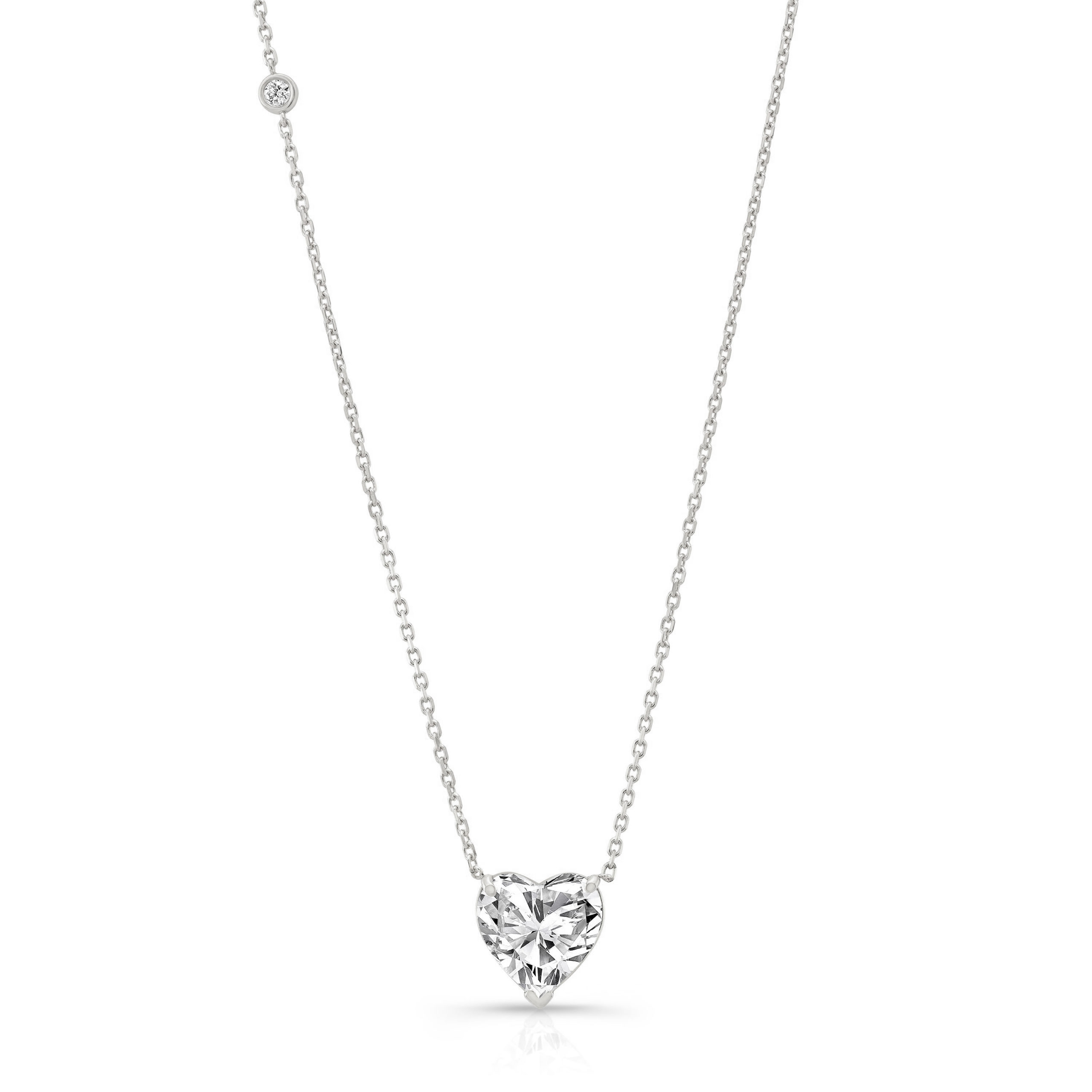 Solitaire Heart Necklace + Diamond Bezel